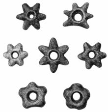 Pre-Columbian Ecuador -By far the most common object was a stone star with a hole through the middle. They were found everywhere between Ibarra and Riobamba. The majority have six rays (and none have more), proceeding symmetrically from the center, and the whole are fashioned alike upon each side.