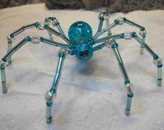 "Large Beaded Aqua Blue ""Beachy"" Garden Spider / Christmas Spider Ornament"
