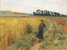 Path in the Grain Field - Léon-Augustin Lhermitte , ca. French, Pastel on paper, x cm. 14 x 11 in. French School, Walking Paths, Pathways, Pastel, Painting, Inspiration, Art, Biblical Inspiration, Art Background