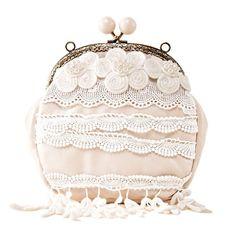 HOT Women Floral Beige Tassel PU Leather Handbag Shoulder Cross body Handmade Clutch Chain Party Evening Coin Purse with Cream Beads
