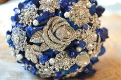 Sapphire rose brooch bouquet by Noaki on Etsy, $160.00