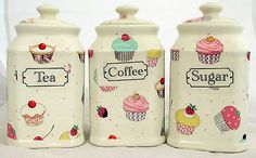 #Fairy cupcakes #canister cupcakes tea coffee sugar storage jar hand #decorated u,  View more on the LINK: http://www.zeppy.io/product/gb/2/301921039289/