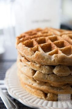 Whole Wheat Greek Yogurt Waffles // Start your morning with a healthy and nutritious breakfast. Made with wholesome ingredients these waffles are a delicious addition to your mornings. Made with Greek yogurt they've got the extra pep you'll need in your step! | Tried and Tasty