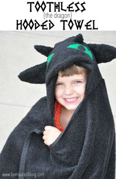 Sarah from Bombshell Bling shares a tutorial at Crazy Little Projects showing how to make a Toothless the Dragon hooded towel. Love Sewing, Sewing For Kids, Baby Sewing, Sewing Patterns Free, Sewing Tutorials, Sewing Projects, Sewing Ideas, Sewing Paterns, Craft Projects