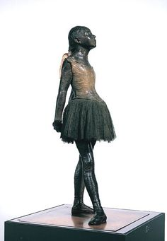 Little Dancer aged fourteen. 1880-81  Edgar Degas  In 1881, when propriety was everything, the aggressive realism of The Little Dancer prompted great criticism. By displaying the sculpture in a glass case, the artist alluded to display methods of natural history museums and may have been questioning whether a sculpture of meticulous realism could still be categorised as 'art'.