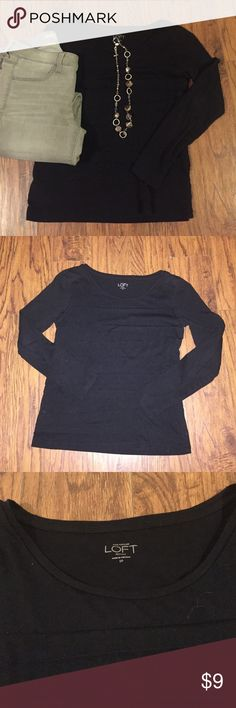 Loft long sleeved tee Loft long sleeved tee! In great condition barely worn, has layered designs on front, have 2 other colors listed in this (if you want to see it better) black never photographs well! Jeans and necklace not included! LOFT Tops Tees - Long Sleeve