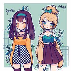 Drawing Anime Clothes, Anime Girl Drawings, Cartoon Drawings, Manga Clothes, Anime Zodiac, Zodiac Art, Zodiac Signs, Cute Kawaii Drawings, Cool Art Drawings