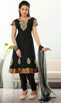 USD 63.7 Black Net Zardosi Work Salwar Style Suit 30098