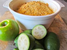 Feijoa, Apple and Rhubarb Crumble, a great treat to warm you up on the cooler days of the year. Rhubarb Crumble, How Sweet Eats, Recipe Using, Sweet Treats, Deserts, Apple, Recipes, Food, Warm