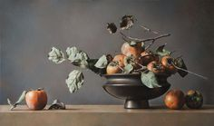 Gianluca Corona, Persimmon composition, oil on board, cm 80 x 100 http://www.salamongallery.com/ | #realism #stillLife #nature #figurative #contemporary #art