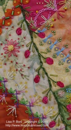 Wonderful Ribbon Embroidery Flowers by Hand Ideas. Enchanting Ribbon Embroidery Flowers by Hand Ideas. Silk Ribbon Embroidery, Beaded Embroidery, Cross Stitch Embroidery, Embroidery Patterns, Hand Embroidery, Quilt Patterns, Block Patterns, Crazy Quilt Stitches, Crazy Quilt Blocks