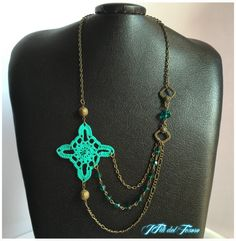 Ganchillo, collar, collar hecho a mano del ganchillo, bronce, Tiffany, la joyería, accesorios, bronce, collar de bronce, cristales, Giftforher