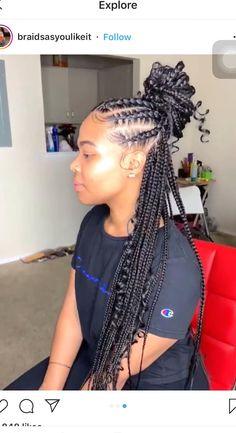 Box Braids Hairstyles, Braided Ponytail Hairstyles, Braided Hairstyles For Black Women, Baddie Hairstyles, Braids For Black Hair, Girl Hairstyles, Protective Hairstyles, Ponytail Braid Styles, Braided Ponytail Weave