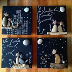 Cool DIY Idea: Painting out of River Pebbles – Best Handi Crafts Pebble Painting, Pebble Art, Stone Painting, Diy Painting, Painting Walls, Painting Canvas, Rock Painting, Fun Crafts, Diy And Crafts