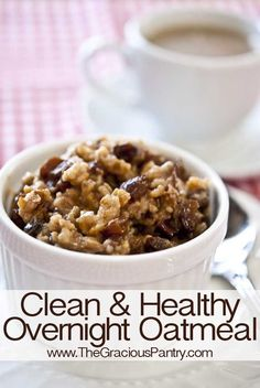 Clean Eating Traditional Slow Cooker Overnight Oatmeal.  Finally a recipe that cooks on low for 8 hours (not 6!) for a full night's sleep!