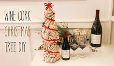 DIY Wine Cork Christmas Tree-I would have a better wine than Kendall Jackson next to my tree!