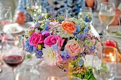 Florals in Silver Footed Bowls