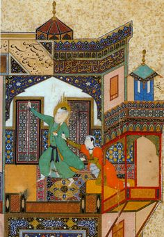 The seduction of Yusef detail by Kamāl ud-Dīn Behzād of Persia1488. http://upload.wikimedia.org/wikipedia/commons/c/ce/Yusef_Zuleykha_detail.jpg?uselang=fr