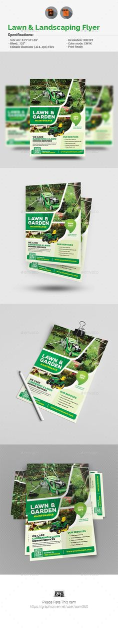 Lawn & Landscaping #Flyer - #Corporate Flyers Download here:  https://graphicriver.net/item/lawn-landscaping-flyer/19778308?ref=alena994