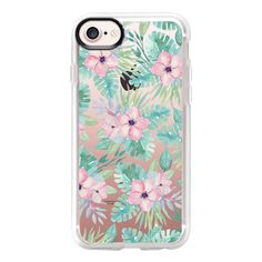 Blush pink green watercolor tropical floral - iPhone 7 Case And Cover (145 AED) ❤ liked on Polyvore featuring accessories, tech accessories, iphone case, green iphone case, clear iphone case, iphone cover case, pink iphone case and iphone cases