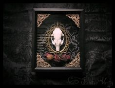 Gothic Taxidermy Skull Curio Neo-Victorian Damask Antique Frame Filigree Black Cameo Valentines Shadowbox frame macabre wall art Plaque