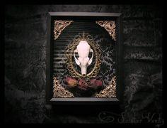 Gothic Victorian Taxidermy Fox Skull Damask Antique Frame Filigree Black Cameo Valentines Curio Shadowbox frame macabre wall art Plaque