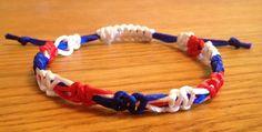Macrame Bracelet, Union Jack symbolic bracelet, Stackable bracelet, 3 colours alternat. £3.50, via Etsy.