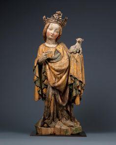 Saint Agnes Poplar, with original polychrome and gilding Austria, Salzburg, c. Statues, Saints, Renaissance, European Paintings, Madonna And Child, Effigy, Medieval Art, Gothic Art, Bronze