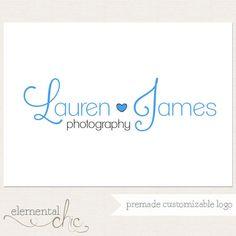 Photography Logo and Watermark - Script Name & Heart Logo Design