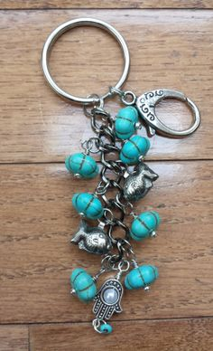 Turquoise  Beaded Key chain with hook by ThreadedStones on Etsy, $7.50