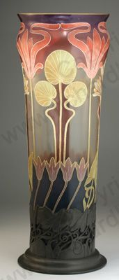 """Antique Glass with nature theme. French Art Nouveau vase in stand, hand decorated in polychrome enamels, c.1905. To visit my website click here: <a href=""""http://www.richardhoppe.co.uk"""" rel=""""nofollow"""" target=""""_blank"""">www.richardhoppe....</a> or for help or information email us here: <a href=""""mailto:info@richardhoppe.co.uk"""" rel=""""nofollow"""">info@richardhoppe...</a>"""