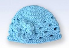 Crochet Flowers For Hats Pattern | Crochet Beanie Hat Cap With Flower - Baby Blue | Flickr - Photo ...