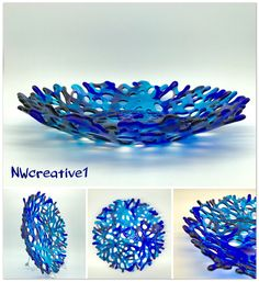 Ocean Blues, Teals and Purple Transparent Coral Bowl, Fused Glass Fruit Bowl, Lace Bowl, Webbed Bowl, Fused Glass Bowl, by NWcreative1 on Etsy https://www.etsy.com/listing/605564491/ocean-blues-teals-and-purple-transparent