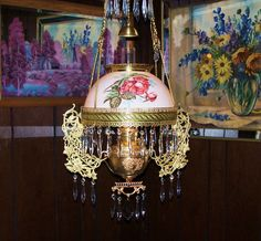 ANTIQUE VICTORIAN JUNO OIL or ELECTRIC HANGING PARLOR LAMP HP SHADE PRISMS