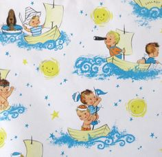 Vintage Laurel Nautical Gift Wrap Wrapping Paper Ship's AHOY - BABY BOY - 1950s 1960s. $4.75, via Etsy.