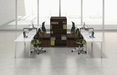 Buy this affordable and modern 4 user office cubicle configuration on sale now. Mayline modular workstations are the hottest new furniture solutions available. Shop and save on new open desking today. System Furniture, Modular Furniture, Furniture Deals, Furniture Styles, Modern Furniture, Open Concept Office, Cool Office Space, Office Spaces, Work Spaces