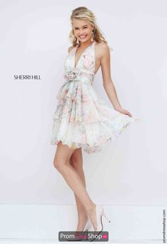 Sherri Hill Short Flowy Multi Print Dress 50274