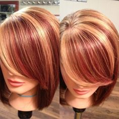Red and blonde highlights in brown hair