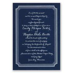 impressive borders - navy   foil wedding invitations   custom wedding invites at Invitations By Dawn