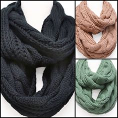 Barnabas Clothing Co. Cable Knit Infinity Scarves in Black, Blush, and Sage.