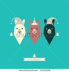 Llamas. Merry christmas card. - stock vector