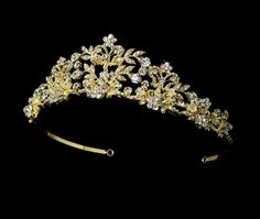 Couture Gold Plated Crystal and Pearl Tiara, -Affordable Elegance Bridal -