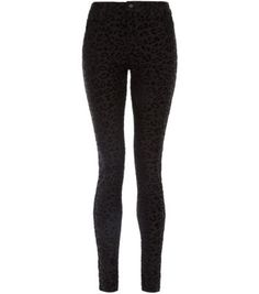 32in Black Flocked Leopard Print Skinny Jeans