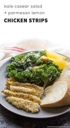 Kale Caesar Salad with Parmesan Lemon Chicken Strips (30 minutes) @sweetpeasaffron