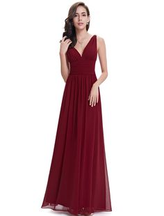 Ever Pretty Elegant V-neck Long Chiffon Crystal Maxi Evening Dress 09016 | Amazon.com