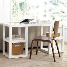 2 x 2 Console Desk | west elm: hmmm - maybe. might be too much with a white chair that i already own.