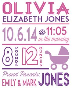 Baby Birth Stats 8x10 digital file by BrenleyCreations on Etsy