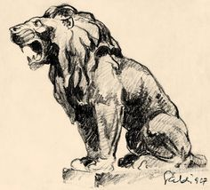antique lion drawing - Google Search