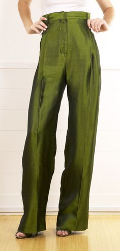 Haider Ackermann Green High-Waisted Silk Jacquard Pants