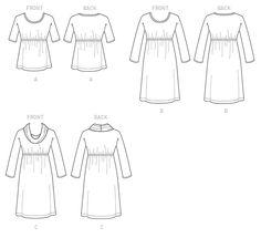 McCall's Sewing Pattern Misses' Raised Elastic-Waist Top and Dresses Mccalls Sewing Patterns, Vogue Patterns, Knitting Patterns, Print Patterns, Grey Velvet Dress, Elastic Waist, Kwik Sew, Basic Tops, Knit Patterns